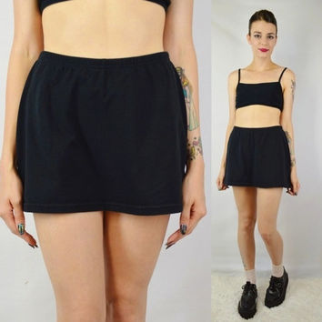 90s Skort Black Mini Skirt Shorts Soft Grunge Hipster Seapunk Vintage Womens Clothing Black Clueless Tumblr Girl Sporty Spice Athletic