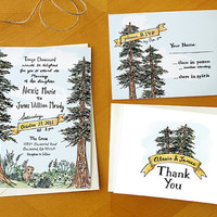 Garden Gathering: Painted Wedding Invitation RSVP Card Suite / Deposit