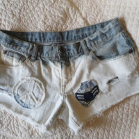 Upcycled Denim Bleached Patched Peace Sign Army Patch Jean Shorts Boho clothes hippie clothes southwest clothes hippie style