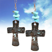 Patina Cross Earrings