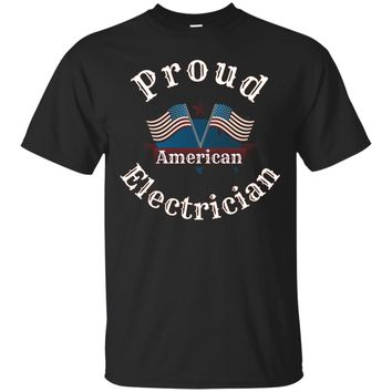 Proud American Electrician T-Shirt with USA Flags_Black
