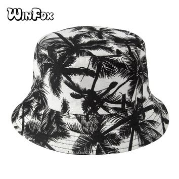 Winfox New Unisex Fashion Summer Reversible Black White Coconut Tree Printed Fisherman Caps Bucket Hats Gorro Pescador Men Women