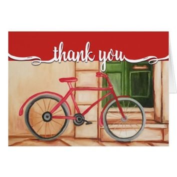Bicycle Oil Painting Thank You Card