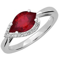 Chatham Created Flame Shaped Ruby Diamond Ring