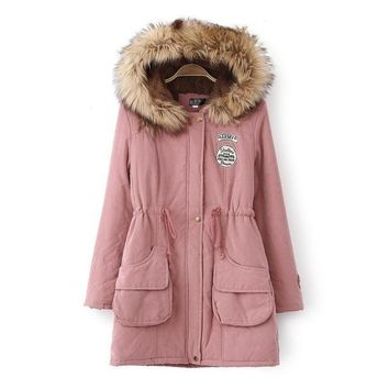 Faux Fur Hooded Long Parka for Women