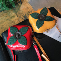 Square Hard Plastic Persimmon Fruit Purse Red or Yellow