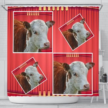 Cute Hereford Cattle (Cow) Print Shower Curtain-Free Shipping