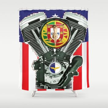 Luso-American Motorcycle Patriot. Shower Curtain by Tony Silveira