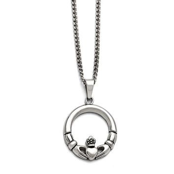 Stainless Steel Claddagh Pendant Necklace 22in Necklace