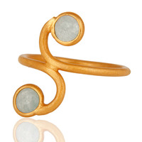 22K Yellow Gold Vermeil Over Sterling Silver Blue Aqua Aventurine Gemstone Ring