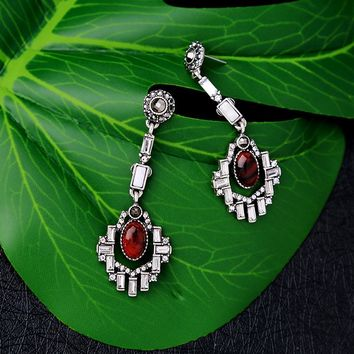 Vintage Geometric Red  Stone Hollow Rhinestone Drop Earrings