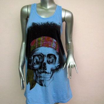 Mini Dress Jimi Hendrix Skull T-shirt Women Tank Tops print screen Singer Idol Icon Music Rock Punk heavy metal Hip Hop B42 Blue Sz.M