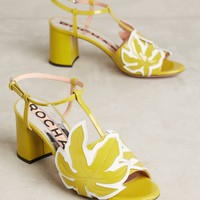 Rochas Palm Leaf Block Heels
