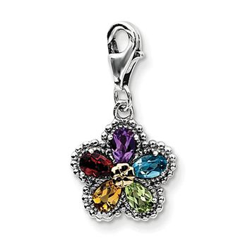925 Sterling Silver 14kt Gold Pear Shaped Multistone Flower Clasp Charm