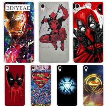 Super Funny Cool Hero SuperMan Iron Man Deadpool hard Transparent Case Cover Coque for Sony Xperia z1 z2 z3 z4 z5 m4 aqua m5 XA