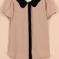 Staff Meeting Scallop Collar Chiffon Blouse in Dusty Pink/Black | Sincerely Sweet Boutique