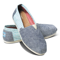 TOMS Chambray Blue Gingham Canvas Classics | zulily