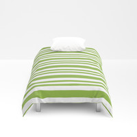 Pale Green Striped Pattern Duvet Cover by kasseggs