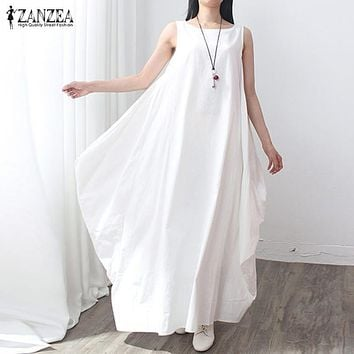 Summer Dress 2018 Women Sleeveless O Neck Sexy Dress Cotton Linen Long Maxi Dresses Casual Loose Retro Solid Vestidos Plus Size