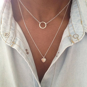Sterling Silver 2 Layer Necklace Eternity Heart Necklace UK Shop valentines gift