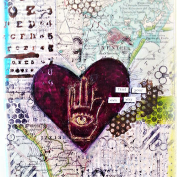 Handmade Art. Mixed Media Canvas Art. Map with Heart. Find Your Own Way. Ready to Ship.Yoga Inspired Art