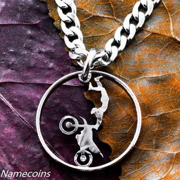 Motocross jewelry, Dirtbike necklace, Hand cut quarter by Namecoins