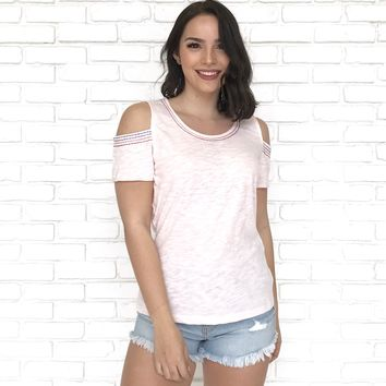 Sanctuary Embroidered Top in Pink