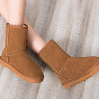Winter Matte Leather Anti-skid Cotton Boots [9605283855]