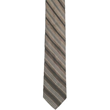 J. Ferrar Striped Wide Silk Tie - Gold