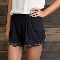 Midnight Dreamer Sequin Scallop Hemmed Shorts