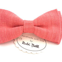 Coral linen bow tie, pink bow tie, bow ties for men, wedding bow tie, linen wedding tie, rose tie