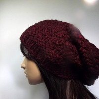 Spiral Slouch Beanie- Black Cherry Wine Oxblood Hat