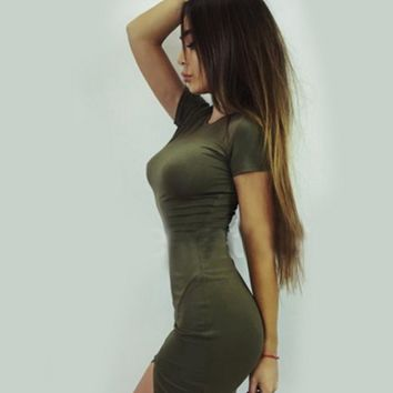 CUTE GREEN SHORT SLEEVE DRESS