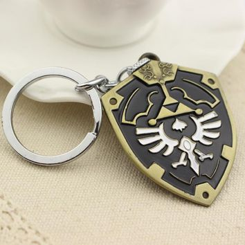 3 Design 3D Game The Legend Of Zelda Ocarina Of Time Enamel Metal Shield Keychain Silver Plated Women And Men Key Chains Ring3D8