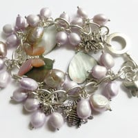Charm bracelet, lilac pearls shell hearts silver charms chunky bracelet,  UK shop