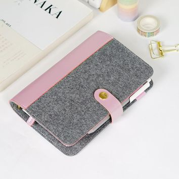 99c71935ec4 Japanese Personal Dairy Felt With Pu Leather Travel Journal Gold