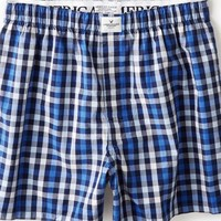 AEO Men's Plaid Boxer (Blue)