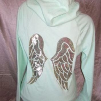 Victoria's Secret Supermodel Gold Sequin Angel Wing Bling Hoodie Sweatshirt Mint Green - MEDIUM