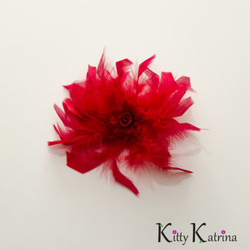 Red Rose Feather Flower Clip, Red Flower Hair Clip, Bridal Flower Clip, Red Flower Girl Dress, Holiday Dress, Party Dress, Prom Dress