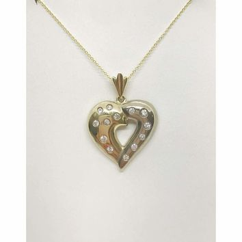 Luxinelle 2 Tone Gold Diamond Heart Pendant Necklace - White and Yellow Gold 14K