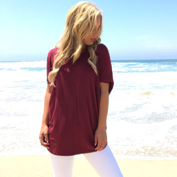 Autumn Jersey Dolman Top In Red Wine
