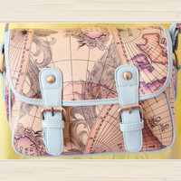Fashion Map printing Shoulder Bag&Messenger Bag