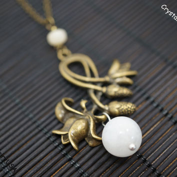 Moonstone necklace, bronze lily flower necklace long chains necklace