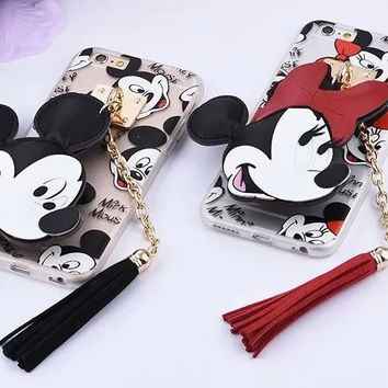 New 2016 Cute Mickey Minnie Mouse Donald Daisy Duck tassel Women Girl Cell Phone Cases For Apple iPhone 6 s plus Cover Pendant
