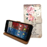 Beanbeancase Vintage Flower Quote Flip Pu Leather Cover Case for Moto X (K33)