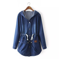 Denim Long-Sleeve Drawstring Hoodie Button Jacket
