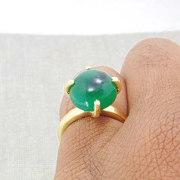 Handmade Ring - Gold Vermeil Ring - Green Onyx Ring - Prong Set Ring - Oval Stone Ring - Solitaire Ring - Solid Brass Ring - Gift For Her