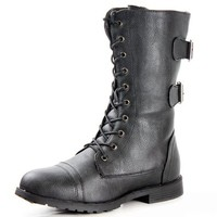 West Blvd Womens CAIRO COMBAT Boots Lace Up Military Army Motorcycle Biker Flat Mid Calf Shoes, Black Pu, US 8