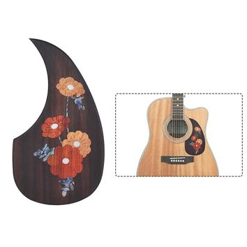 """Wooden Acoustic Guitar Pickguard Pick Guard for 40"""" 41"""" Acoustic Guitars Ebony Wood with 2 Different Patterns"""