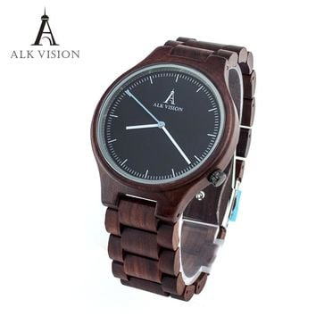 mens wooden watch quartz red sandal wood watch casual male womens couple clock top bra
